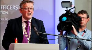 President of the Prison Officers Association Stephen Delaney at their annual conference in Athlone. Photo: Steve Humphreys