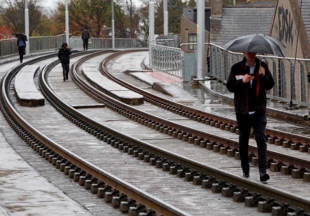 Some 90,000 passengers were left without a tram service as the drivers held another one-day strike. Photo: Sam Boal/Rollingnews.ie
