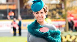 Leona Skelly, winner of the Bollinger Best Dressed Lady on Day 3 sy Punchestown Festival. Picture: Michael Chester
