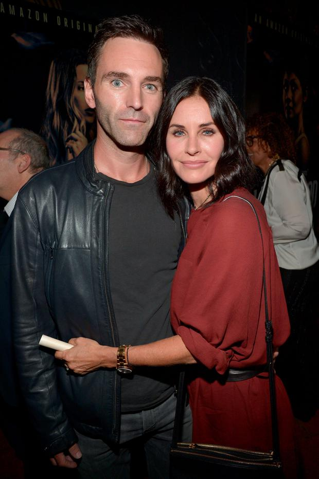 Musician Johnny McDaid (L) and actress Courteney Cox attend the Amazon premiere screening for original drama series