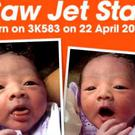 The baby boy weighed at six pounds and seven ounces Jetstar Asia/Facebook