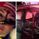 A Snapchat image allegedly posted by Christal McGee after the collision (left) and the wreckage of Mr Maynard's car