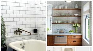 We've grown tired of beige and stone-coloured tiling, and back to the clean simplicity of white brick style tiling, perfectly offset by black grouting. Photo Credit: Pinterest