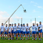 Waterford players line up for the national anthem before the Allianz league game against Kilkenny in February - tomorrow they have their sights set on seeing off the challenge on Clare in Thurles. Photo: Sportsfile