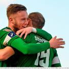 Karl Sheppard, Cork City, celebrates after scoring his side's first goal with teammate Kevin O'Connor