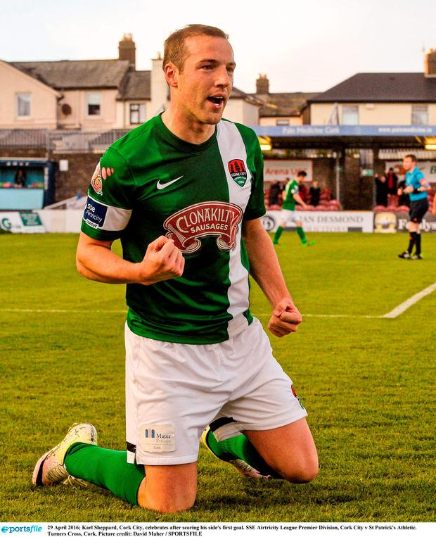 Karl Sheppard, Cork City, celebrates after scoring his side's first goal