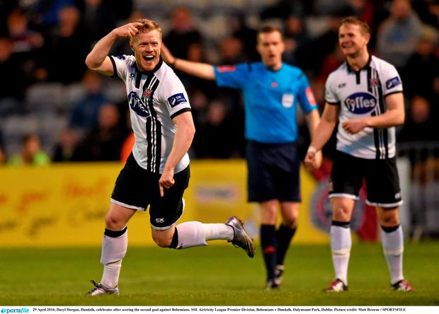 Daryl Horgan, Dundalk, celebrates after scoring the second goal against Bohemians