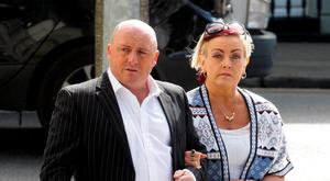 David Mahon outside court yesterday with his wife Audrey, mother of Dean Fitzpatrick who died of stab wounds in May 2013. Photo: Collins