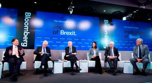 Nigel Lawson, former UK chancellor; Mario Monti, former Italian prime minister; Jon Moulton, founder of Better Capital; Carolyn Fairbairn, director general of the Confederation of British Industry; Norman Lamont, former UK chancellor; and Maurice Levy, chief executive of Publicis Groupe, at the debate