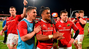Munster players including Robin Copeland, Ian Keatley, Francis Saili, Johnny Holland and Jack O'Donoghue celebrate after the game at Irish Independent Park. Photo: Sportsfile