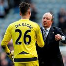 Newcastle manager Rafael Benitez celebrates with Karl Darlow at the end of the match