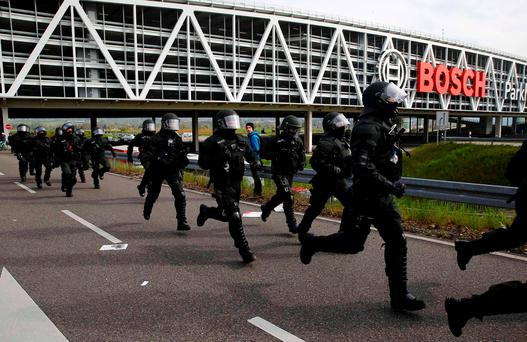 German riot police pictured during the AfD party congress in Stuttgart in April. Picture: Wolfgang Rattay (Reuters)