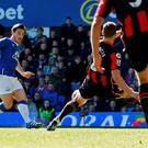 Everton's Leighton Baines scores their second goal