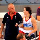 Coach Shane Sutton (left) with Great Britain's Victoria Pendleton in 2016. Sutton has resigned as British Cycling technical director. Photo: Tim Ireland/PA
