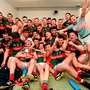 Mayo players celebrate following their team's victory over Cork
