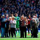 Family members of the victims of the Hillsborough disaster on the pitch ahead of yesterday's Barclays Premier League match between Everton and A.F.C. Bournemouth at Goodison Park. Photo: Alex Livesey/Getty Images