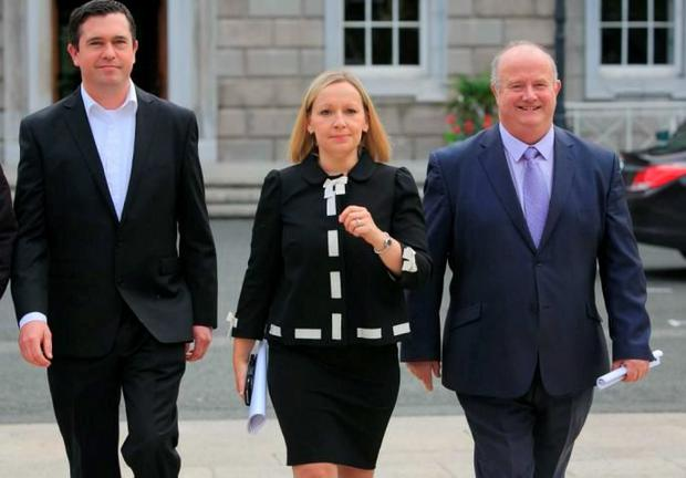 FAILURE TO COMMUNICATE: Renua deputies Terence Flanagan, Lucinda Creighton and Billy Timmins at a Renua press briefing at Leinster House, Dublin. Photo: Gareth Chaney Collins