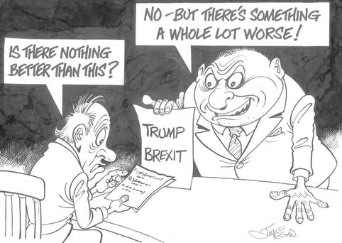 'Europe's been disgracing itself, then somehow we're offered a vision that is actually worse'. Cartoon: Jim Cogan