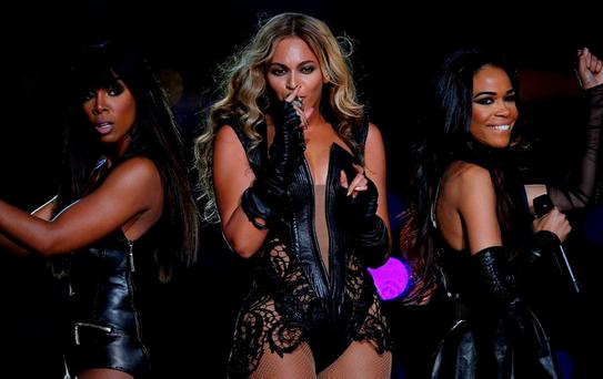 Beyonce on stage with Destiny's Child. REUTERS/Jeff Haynes/File Photo