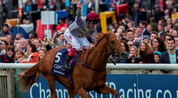 Galileo Gold, ridden by Frankie Dettori, wins the 2000 Guineas at Newmarket yesterday. Photo: Julian Herbert/PA
