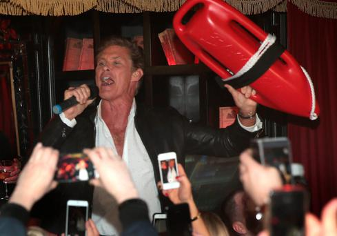 David Hasselhoff takes to the mic and gives the packed crowd a rendition of the Baywatch Classic