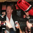 "David Hasselhoff takes to the mic and gives the packed crowd a rendition of the Baywatch Classic ""I'm Always Here"". at The Gumball 3000 launch party at Ireland's Hippest Nightspot Lillies Bordello in Dublin Picture: Brian McEvoy"