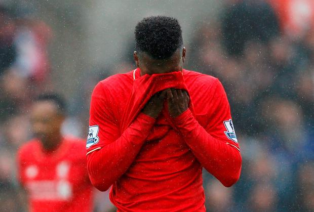 Liverpool's Daniel Sturridge looks dejected