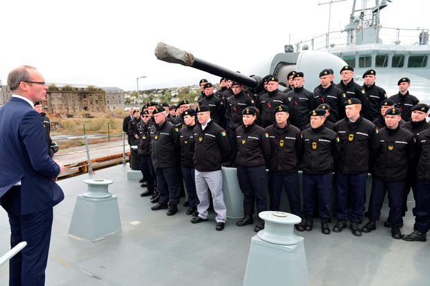 Min for Defence Simon Coveney addresses the crew aboard the LE Roisin which left Haulbowine Naval Base for duty in the Mediterranean. Pic Michael Mac Sweeney/Provision