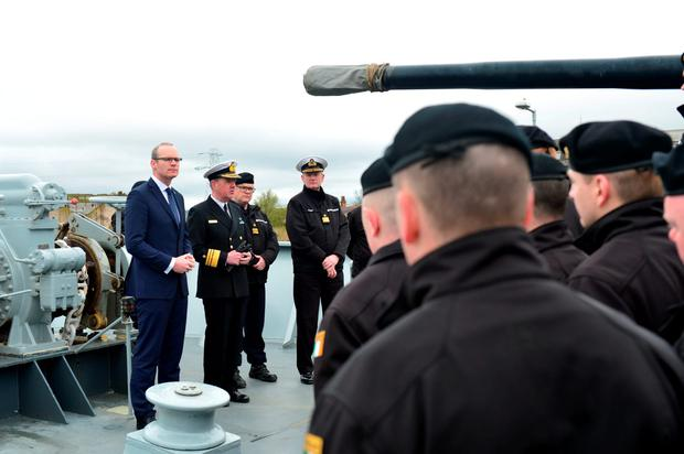 Minister for Defence Simon Coveney and Chief of Staff of the Defence Forces Mark Mellett address the crew aboard the LE Roisin which left Haulbowine Naval Base. Picture Michael Mac Sweeney/Provision