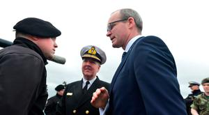 Min for Defence Simon Coveney and Chief of Staff of the Defence Forces Mark Mellett aboard the LE Roisin which left Haulbowine Naval Base for duty in the Mediterranean. Pic Michael Mac Sweeney/Provision