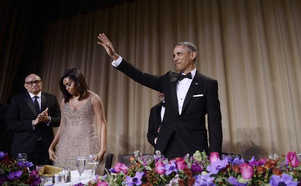 President Barack Obama waves to the audience after speaking at the White House Correspondents' Association annual dinner on April 30, 2016 at the Washington Hilton hotel in Washington, DC. This is President Obama's eighth and final White House Correspondents' Association dinner (Photo by Olivier Douliery-Pool/Getty Images)