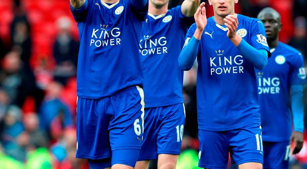 Leicester City's (left to right) Robert Huth, Andy King and Marc Albrighton applaud the fans after the final whistle