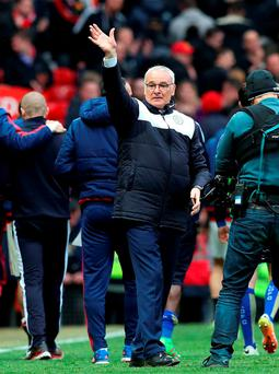 Leicester City manager Claudio Ranieri applauds the fans after the final whistle at Old Trafford