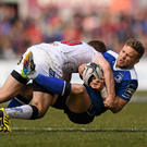 Paddy Jackson tackles Ian Madigan in the closing stages of Ulster's victory over Leinster. Photo: Stephen McCarthy/Sportsfile