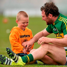 Kerry's Mikey Boyle with his two-year-old son Bobby after the game against Carlow in the Leinster SHC Round 1 qualifier Photo: Sportsfile