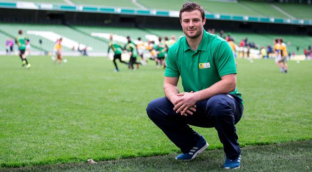 Ireland and Connacht centre Robbie Henshaw overseeing the Aviva Mini Rugby Festival on Saturday