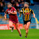 Kilkenny's Anna Farrell attempts to get away from Galway's Clodagh McGrath during their Division 1 final in Thurles Photo: Sportsfile
