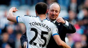 Newcastle manager Rafael Benitez celebrates with Andros Townsend at the end of the match. Photo: Andrew Yates/Reuters