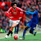 Marouane Fellaini (left) and Leicester City's N'Golo Kante battle for the ball at Old Trafford Photo: PA