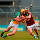 Westmeath's Gary Greville battles for possession with Offaly's Colin Egan during their Leinster SHC clash in Cusack Park, Mullingar Photo: Sportsfile