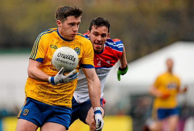 Cathal Cregg, Roscommon, in action against Killian Moynagh, New York Photo: Sportsfile