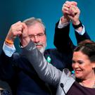 Sinn Fein president Gerry Adams, Vice-President of Sinn Fein Mary Lou McDonald, First Minister of Northern Ireland Martin McGuinness at the Sinn Fein ard fheis at The Convention Centre in Dublin. Photo: Niall Carson/PA Wire