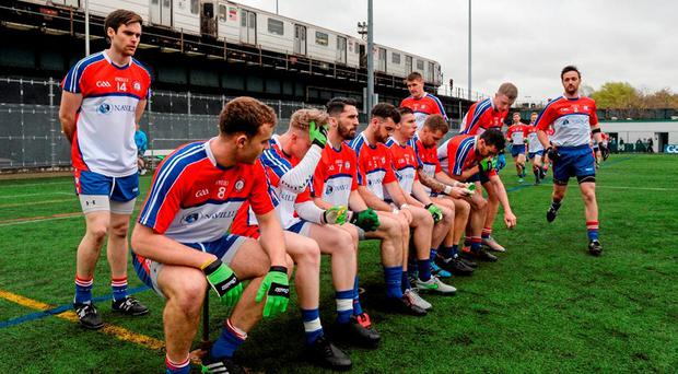 The New York players get ready for the team photo on Sunday. Photo: Daire Brennan / Sportsfile