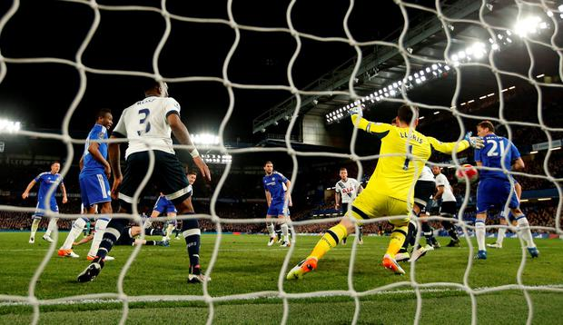 Chelsea's Gary Cahill scores their first goal