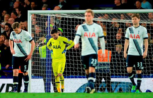 Tottenham players show their disappointment after Eden Hazard's equaliser. Photo: John Walton/PA Wire.