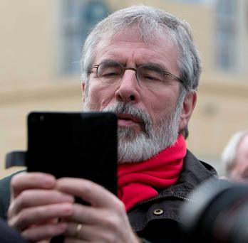 Gerry Adams: Sought to justify tweet in context of Irish suffering caused by penal laws and partition. Photo: Gareth Chaney