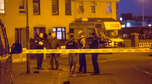 Gardai investigate an incident where a man was shot at Shancastle Drive in Dublin. Pictures:Arthur Carron