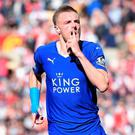 Jamie Vardy celebrates after scoring against Sunderland last month. Photo: Michael Regan/Getty Images