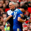 Leicester City manager Claudio Ranieri with Shinji Okazaki. Photo: Jason Cairnduff/Action Images via Reuters