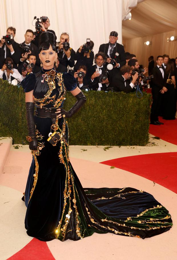 Singer Katy Perry arrives at the Metropolitan Museum of Art Costume Institute Gala (Met Gala) to celebrate the opening of